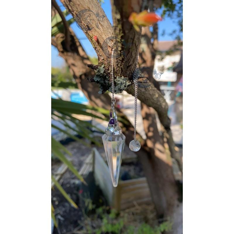 Pendule Pointe à Facettes Cristal de Roche et Bille Améthyste