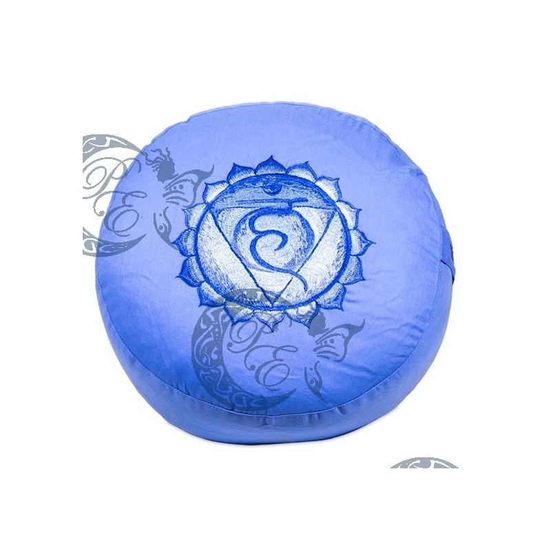 Coussin de méditation 5è chakra Vishuddha brodé