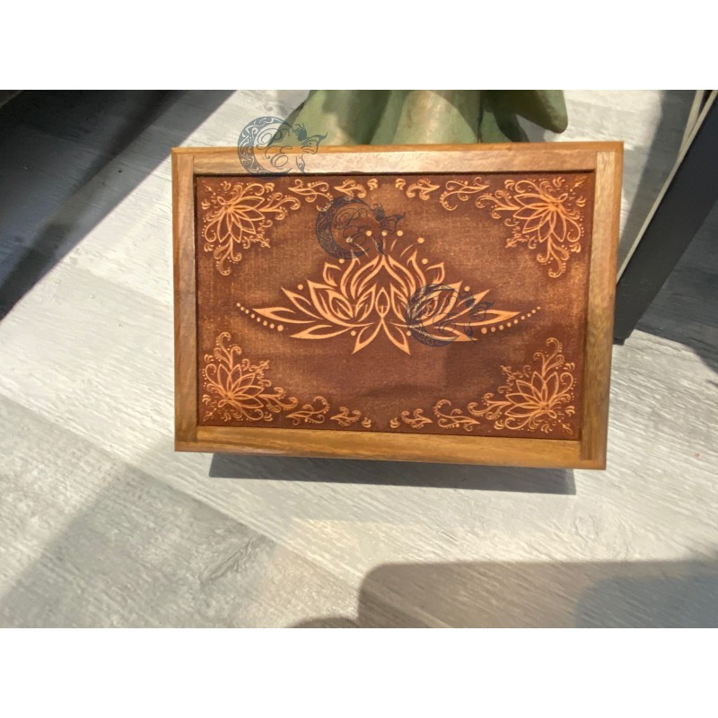 Boite à tarots en bois Lotus